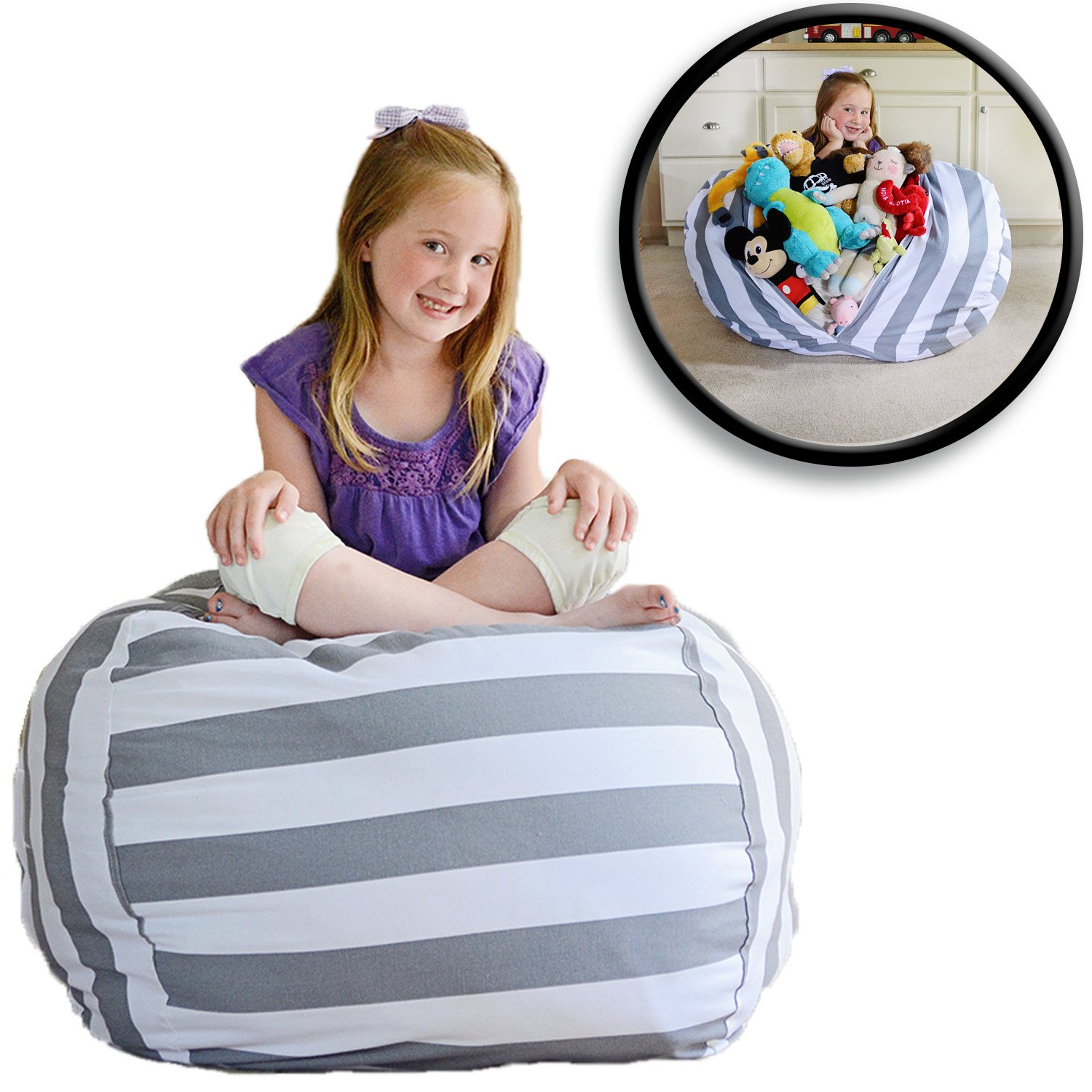 Creative QT EXTRA LARGE Stuff 'n Sit - Stuffed Animal Storage Bean Bag Chair for Kids - Pouf Ottoman for Toy Storage - Available in 2 Sizes and 5 Patterns (38'', Grey/White Stripe) by Creative QT