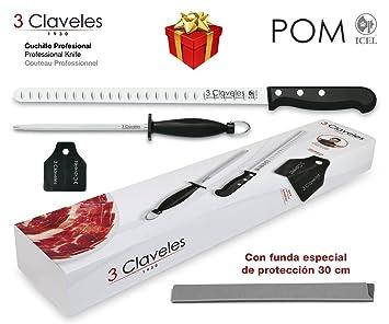 3 Claveles - Set Cuchillo Jamonero Alveolado POM 29 cm ...