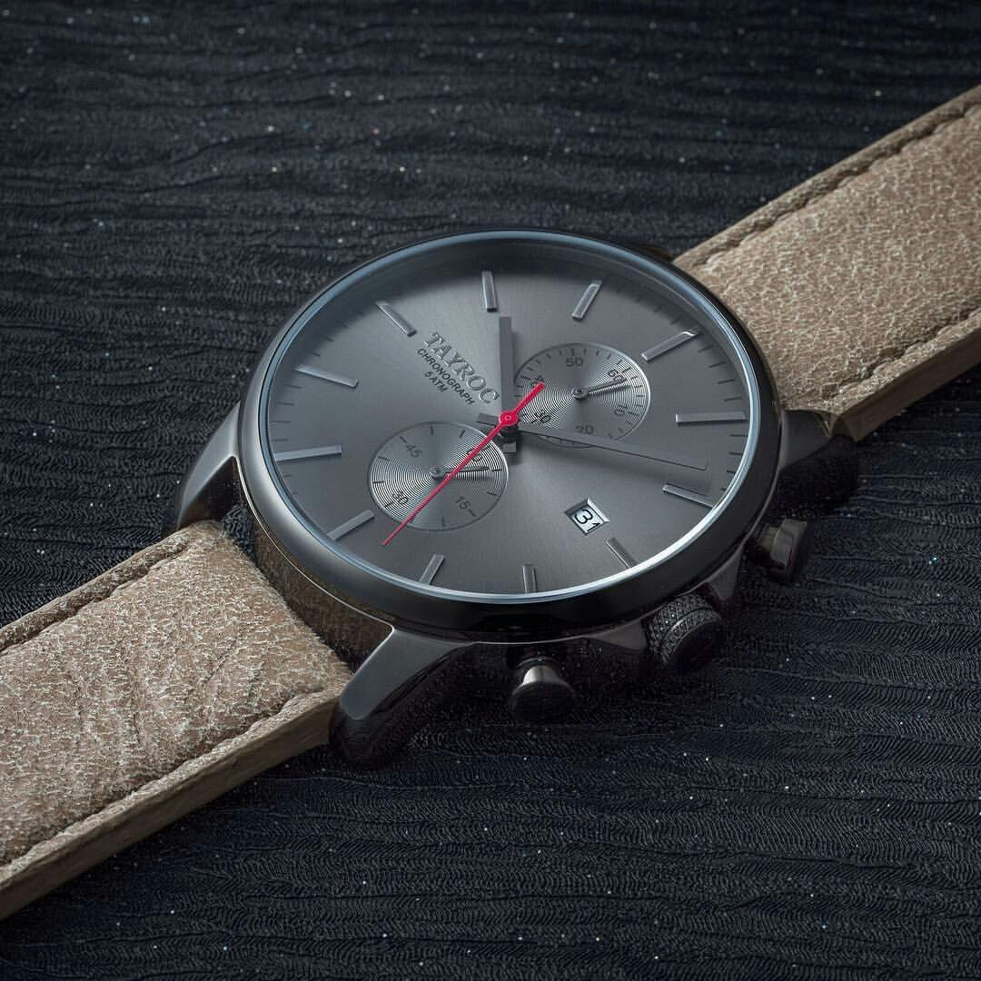 Reloj hombre RELOJ tayroc Iconic Black Classic cronógrafo acero inoxidable cuarzo banda de cuero reloj de pulsera txm093: Amazon.es: Relojes