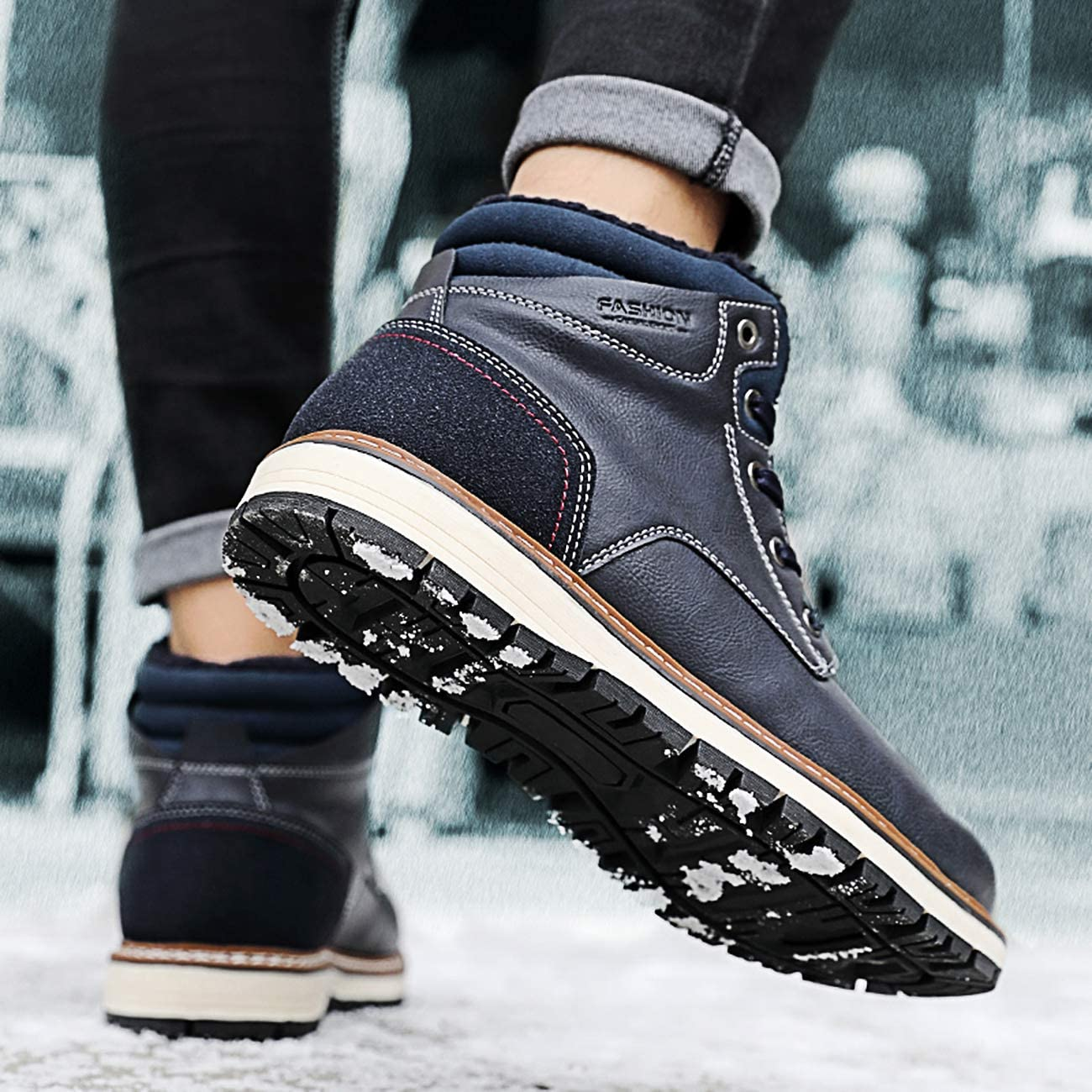 Hombre Botas de Nieve Al Aire Libre Senderismo Impermeables Deportes Trekking Zapatos Invierno Forro Piel Sneakers Calientes Botines