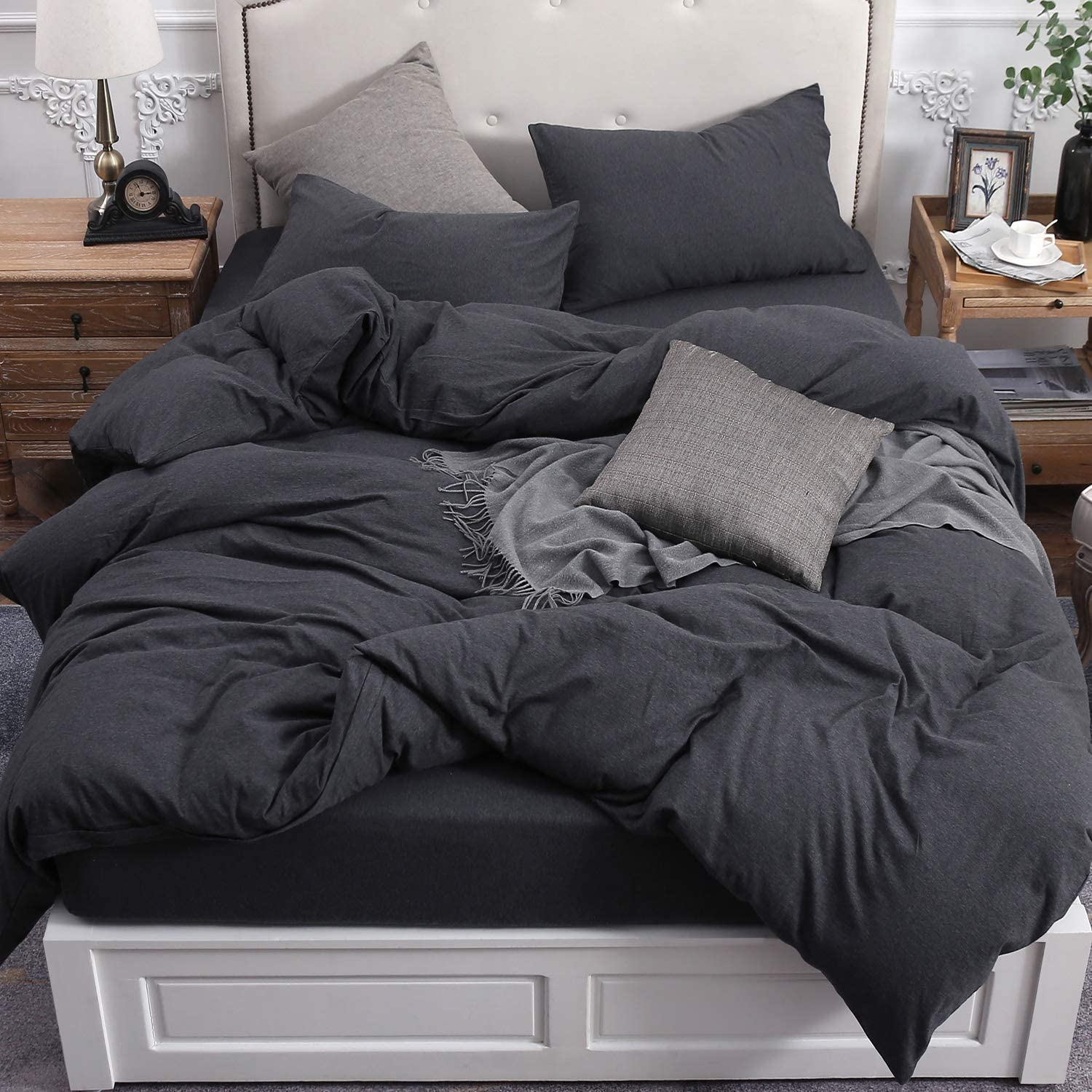 PURE ERA Duvet Cover Set 100% Cotton Jersey Knit Bedding, Super Soft Comfy, Heathered Charcoal Black Queen
