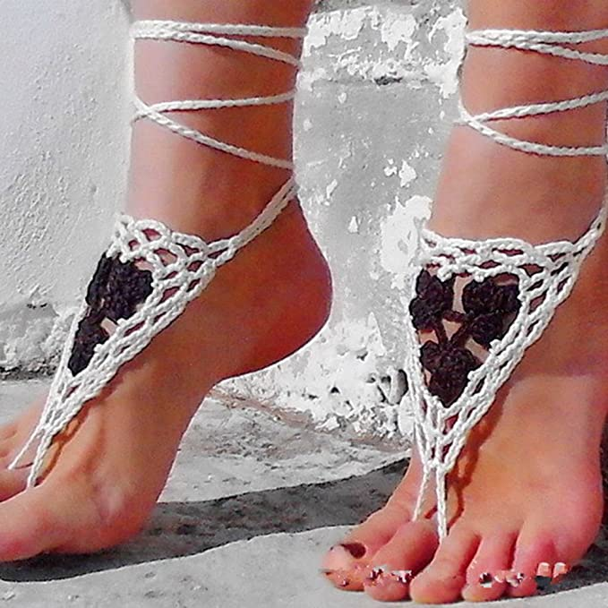 Amazon.com: Vogholic Crochet Cotton Footless Nude Shoes Barefoot Sandals  Foot Decoration Anklet: Clothing