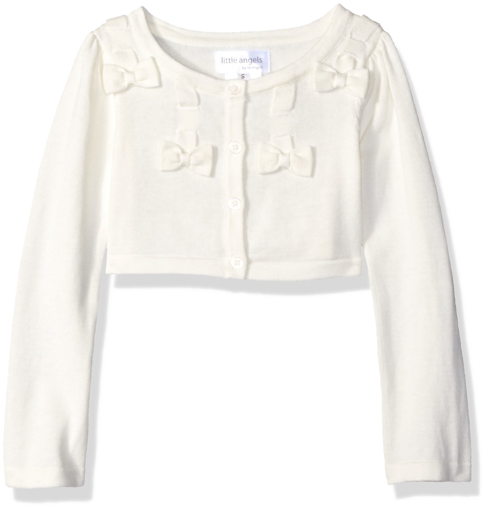Little Angels Little Girls' Bow Withscalloped Edge Cardigan, Ivory, 6