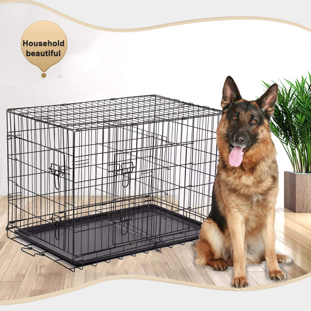 BestPet Black 48'' 2 Door Pet Cage Folding Dog w/Divider Cat Crate Cage Kennel w/Tray LC by BestPet
