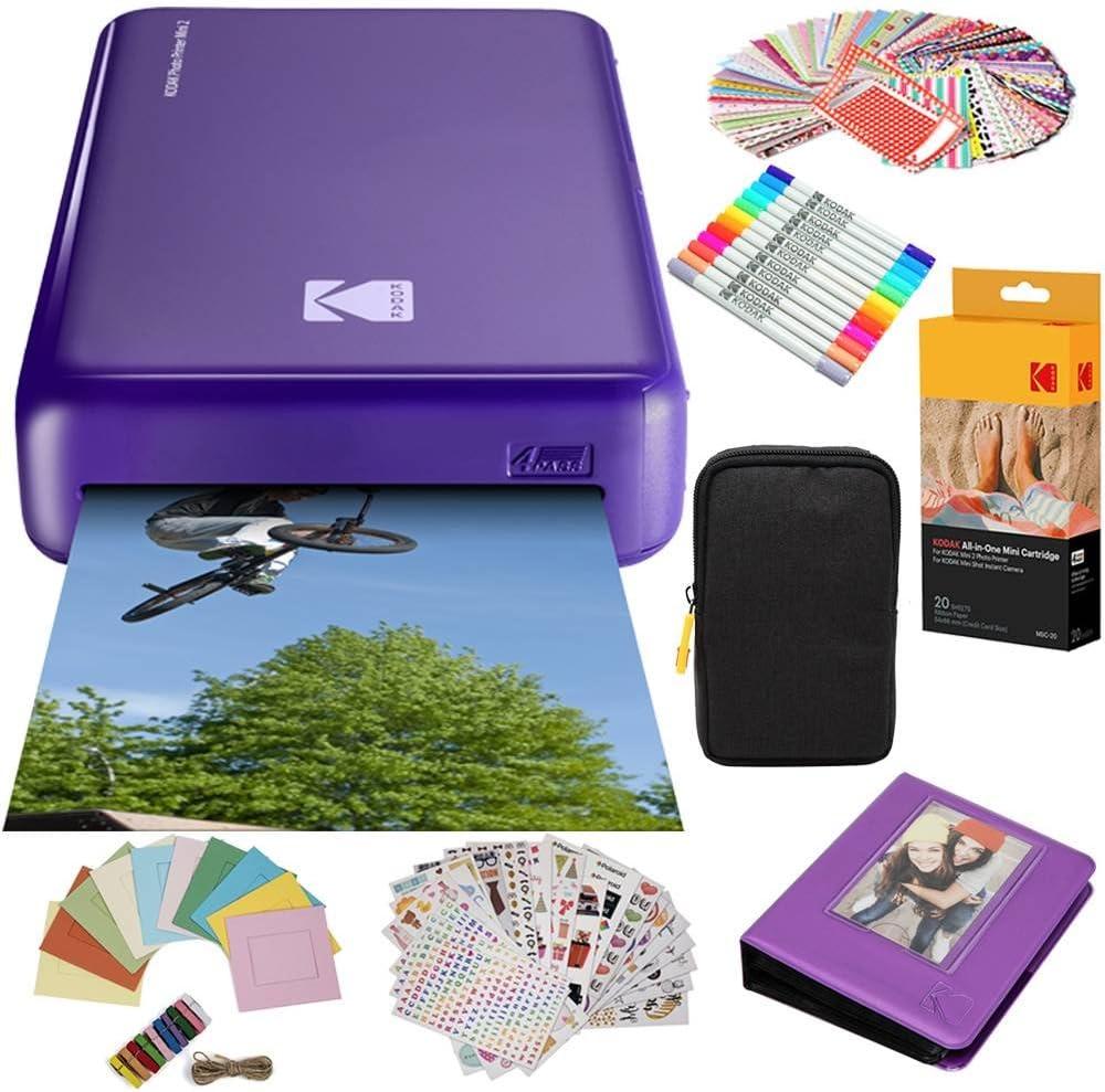 Kodak Mini2 Instant Photo Printer (Purple) Gift Bundle + Paper (20 Sheets) + Deluxe Case + 7 Fun Sticker Sets + Twin Tip Markers + Photo Album + Hanging Frames (AMZKODMP2K3PR)