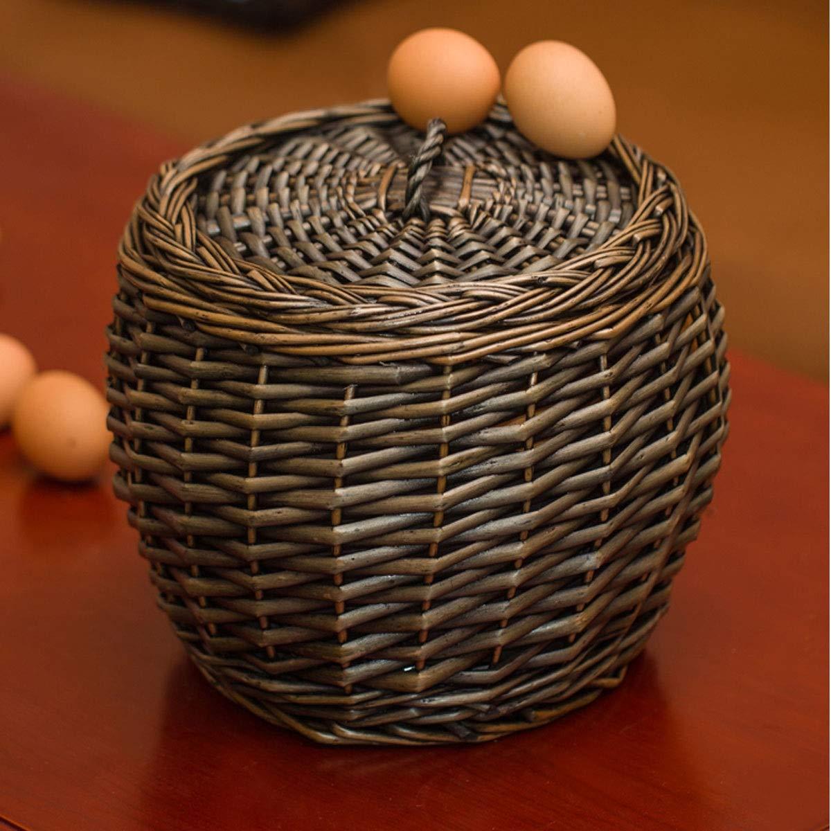 Dish Basket Storage Basket Products 4 Wicker Storage Basket Kitchen Storage Basket Color : Black Woven Frame Shengshihuizhong Rattan Egg Basket
