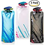 700ML Folable Water Bottles Set of 3 with CE, ROHS Certificates, FLYING_WE Collapsible Flexible Reuable Water Bottle for Hiking, Adventures, Traveling,