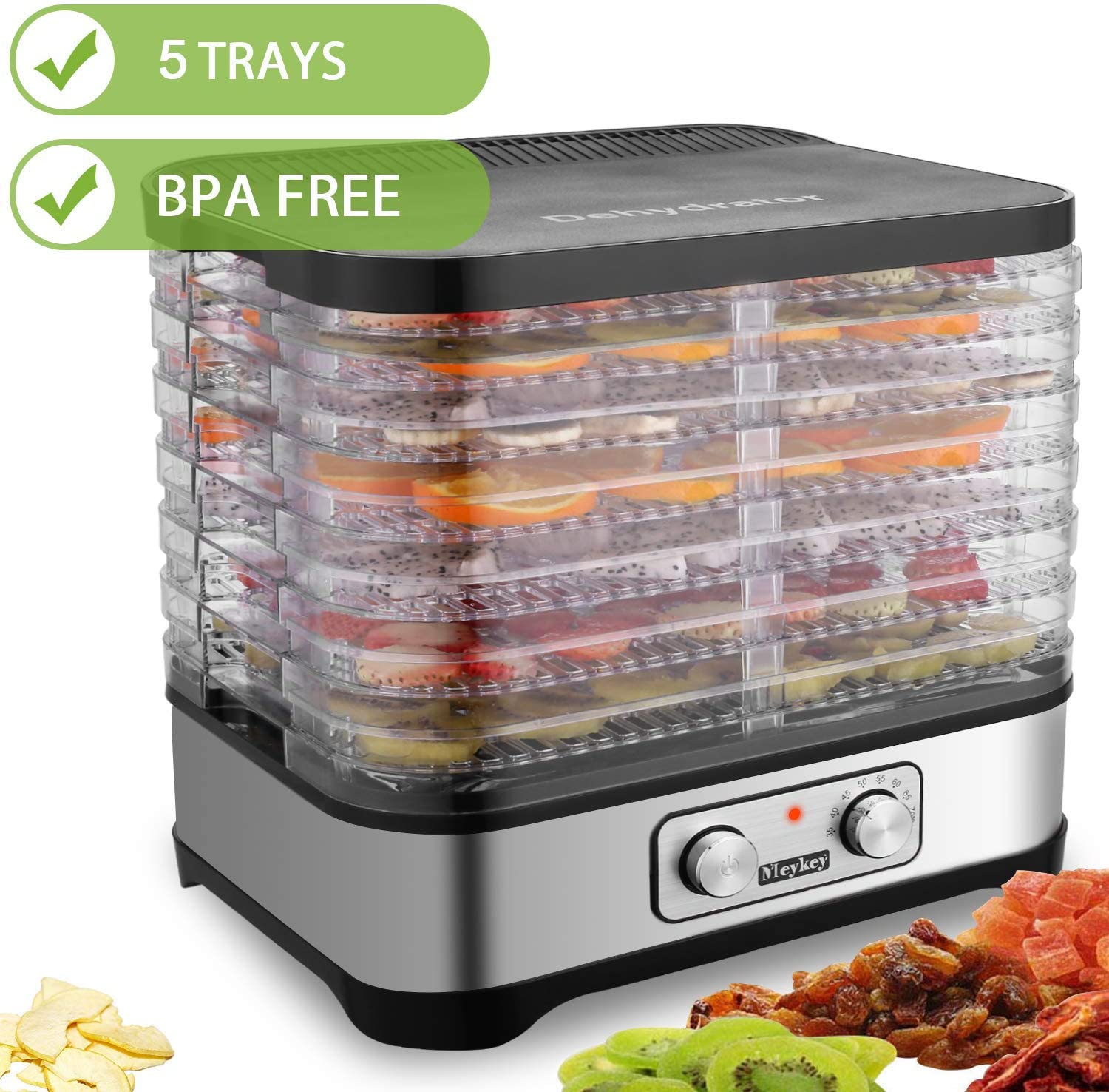 Hauture Food Dehydrator Machine, Food Dryer for Jerky Meat Beef Fruit Vegetable, Temperature Control, 5 Trays