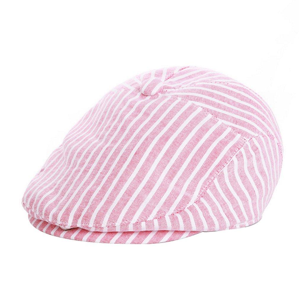 ACVIP Girls Kids Vertical Striped Flat Caps (Pink)