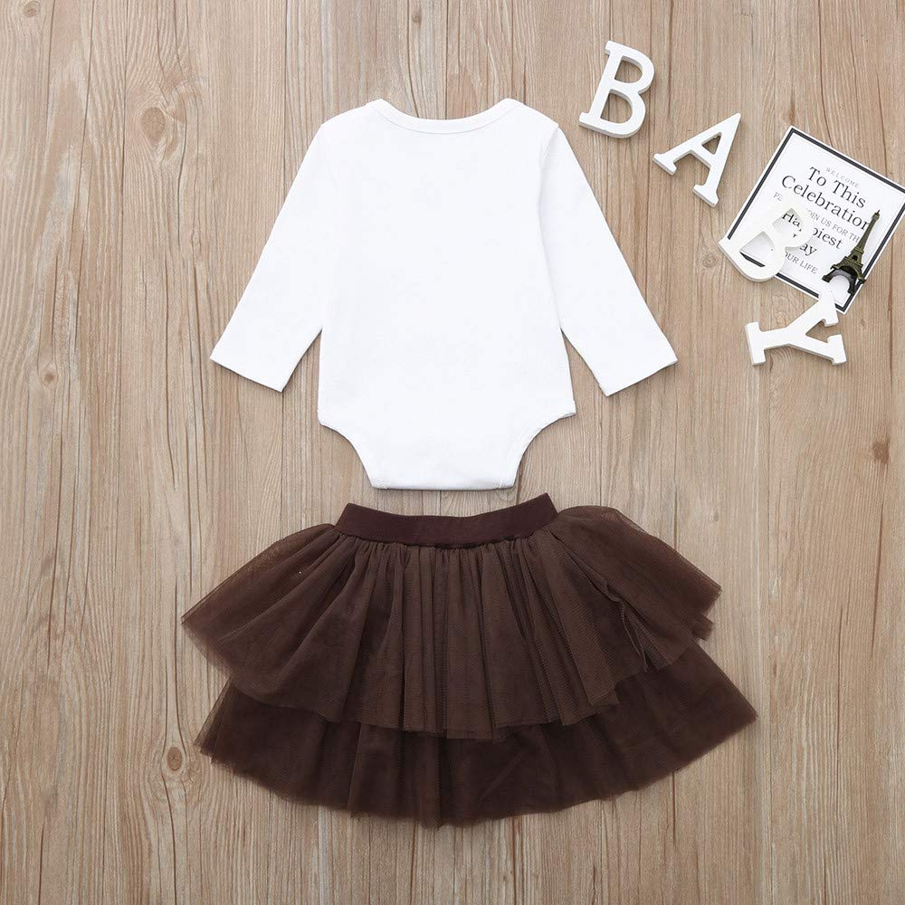Infant Toddler Baby Girls Thanksgiving Outfit Set 6-24 Months ❤️ 2Pcs Letter Romper Tops Tutu Skirts Clothes
