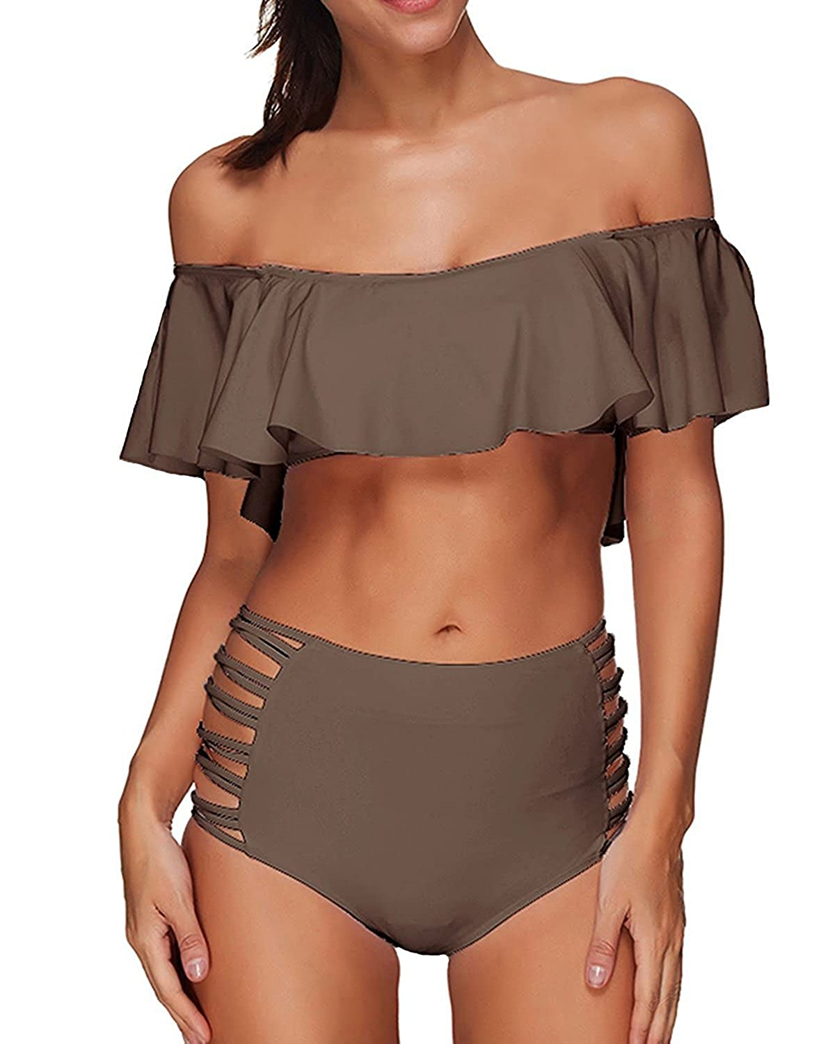 514ee9ef7e800 Features: Crop Ruffled Tube Top with Removable Filmy Soft Push-up Padded  Bra, Empire Waist Cut Out Criss Cross Bandage Hipster Bottom, Strapless Off  ...