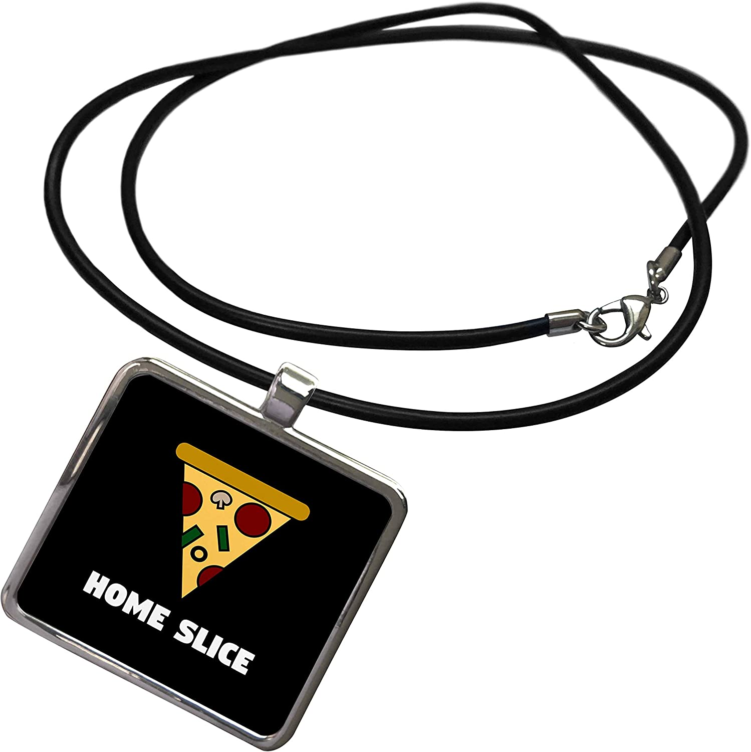 3dRose Stamp City - Typography - Home Slice. Pizza in Color and White Lettering on Black Background. - Necklace with Rectangle Pendant (ncl_325060)