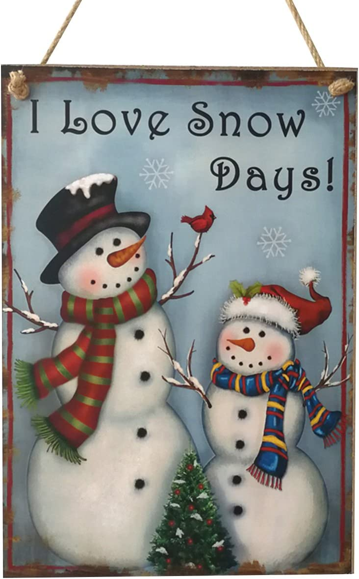 OULII Wooden Christmas Sign Wall Hanging Snowman Christmas Sayings Sign Plaque