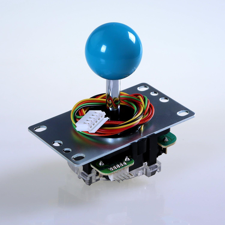 Sanwa Denshi Japan JLF-TP-8YT *FAST SHIPPING* Blue Ball Top Handle Arcade Joystick Part 4 & 8 Way Adjustable - Hori Fight Stick Repair Part - Mad catz SF4 Tournament Joystick Compatible