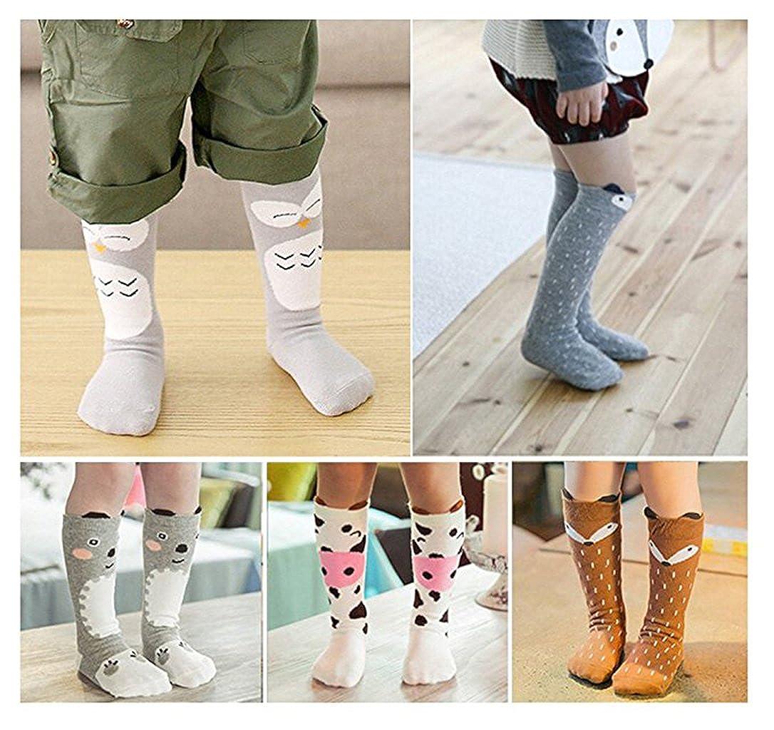 Bestjybt 6 Pairs Unisex Baby Girls Boys Kids Toddler Socks Knee High Socks Animal Baby Stockings