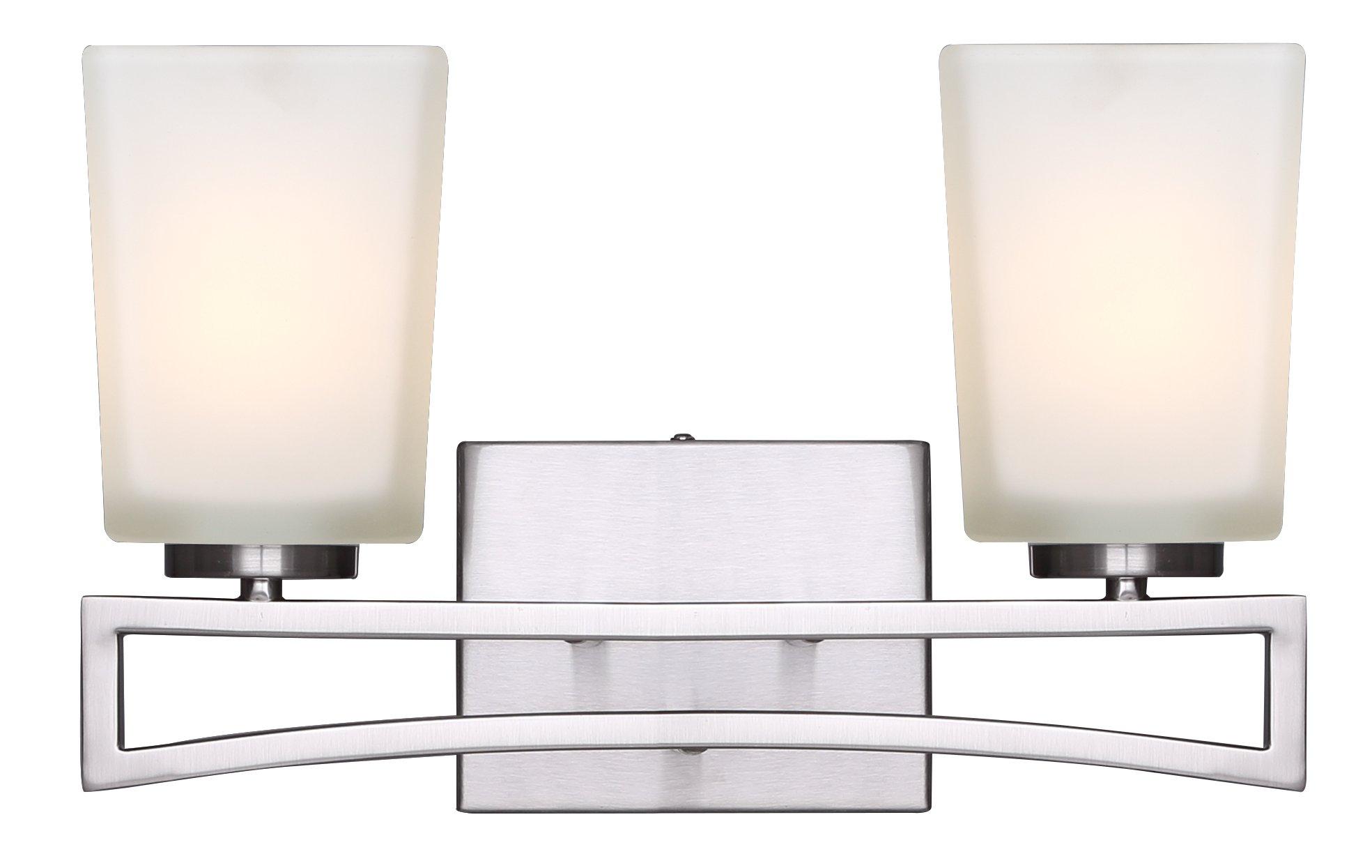 Canarm IVL471A02BN Ltd Alexa 2 Light Vanity, Brushed Nickel with Flat Opal Glass