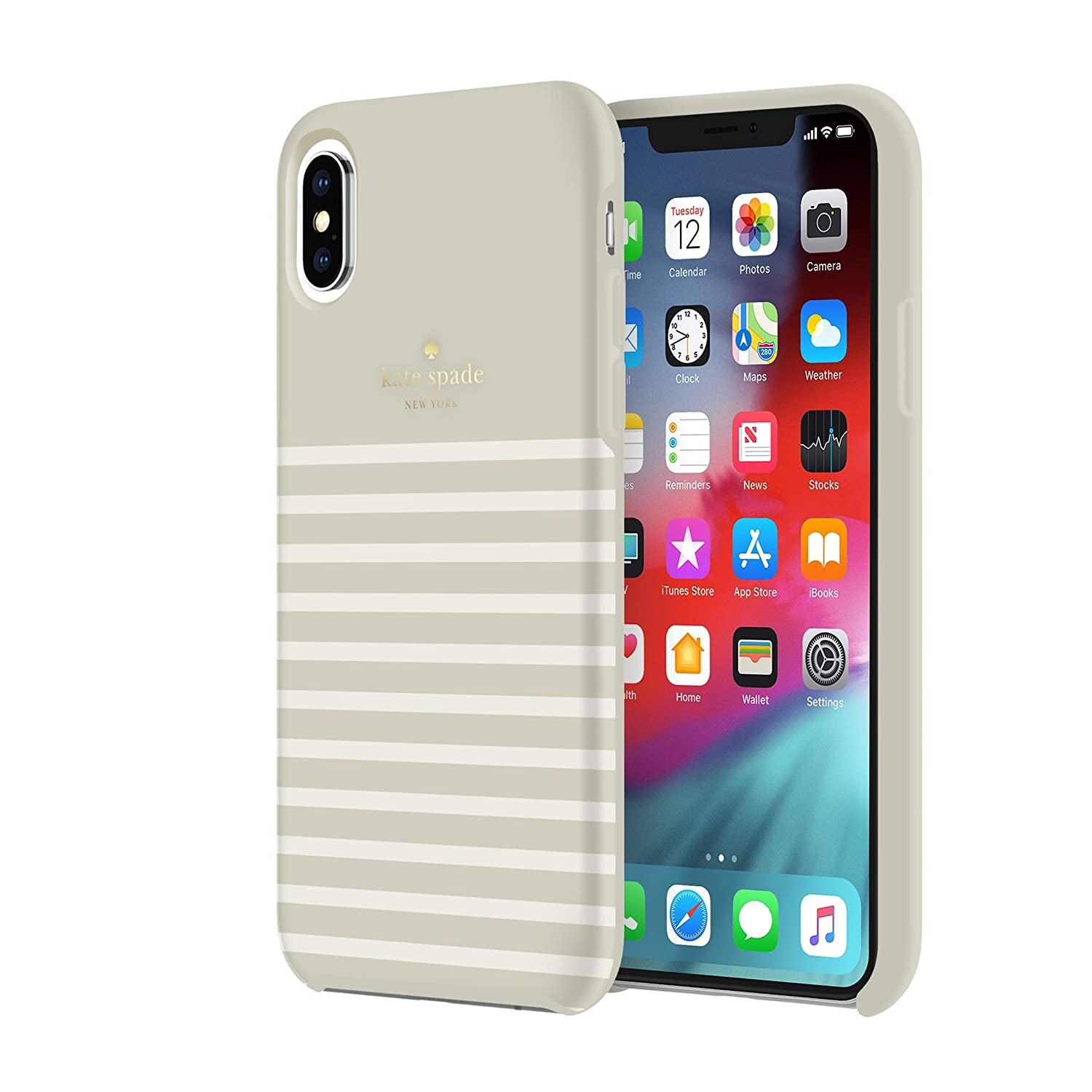 Amazon.com: Kate Spade Soft Touch Case for iPhone XS Max - Feeder Stripe Clocktower/Cream: Cell Phones & Accessories