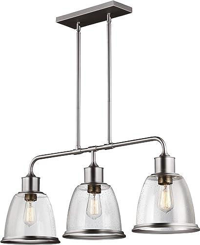 Feiss F3019 3SN Hobson Island Chandelier Lighting, Satin Nickel, 3-Light 36 W x 14 H 225watts