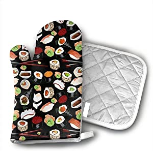Japanese Sushi Oven Mitts and Potholders (2-Piece Sets) - Kitchen Set with Cotton Heat Resistant,Oven Gloves for BBQ Cooking Baking Grilling