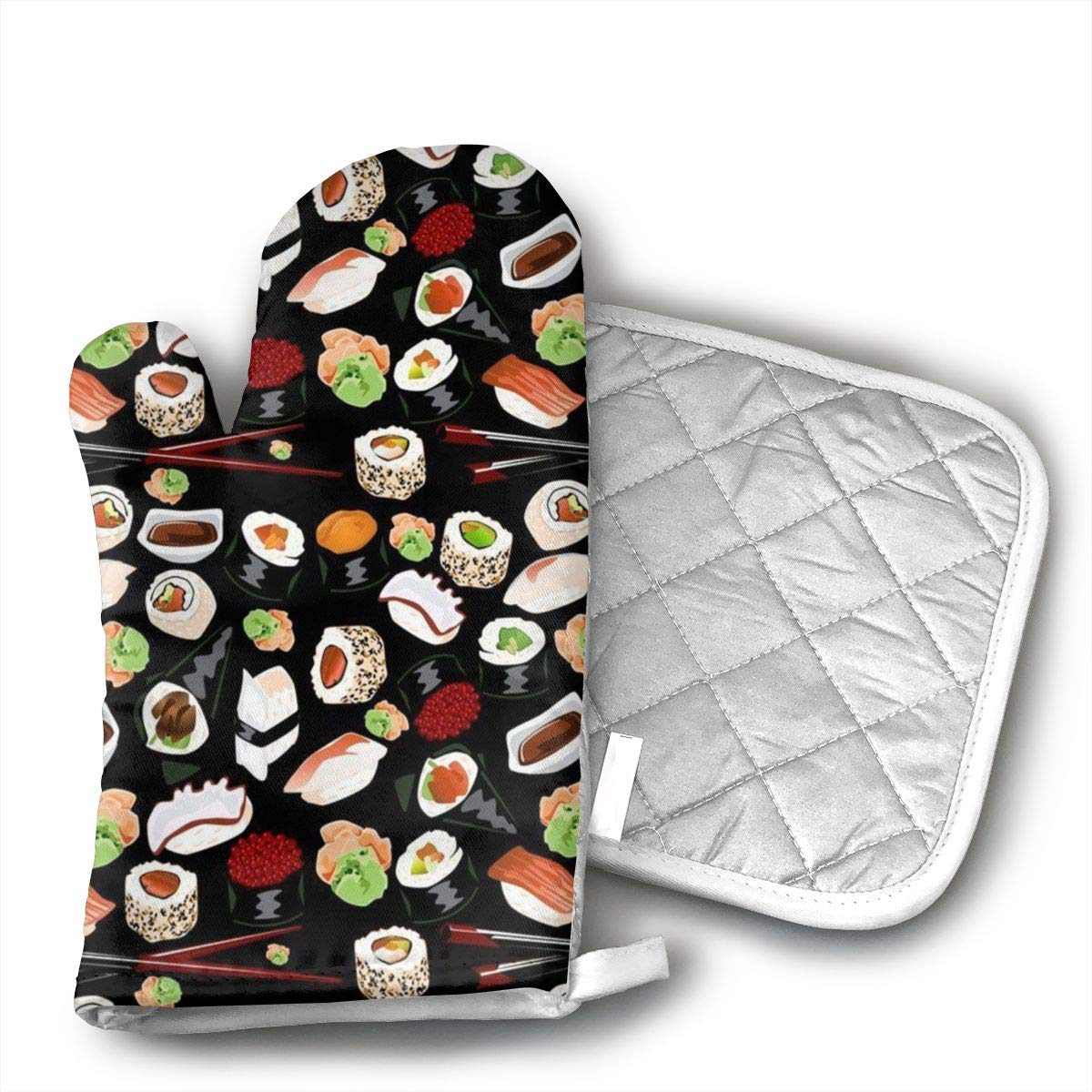 Wiqo9 Japanese Sushi Oven Mitts and Pot Holders Kitchen Mitten Cooking Gloves,Cooking, Baking, BBQ.