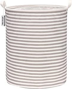 "Sea Team 19.7 Inches Large Sized Waterproof Coating Ramie Cotton Fabric Folding Laundry Hamper Bucket Cylindric Burlap Canvas Storage Basket (19.7"", Grey & White Stripe)"