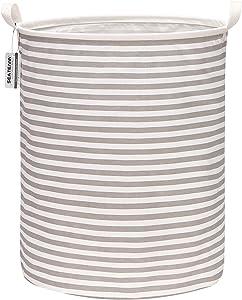 "Sea Team 19.7 Inches Large Sized Waterproof Coating Ramie Cotton Fabric Folding Laundry Hamper Bucket Cylindric Burlap Canvas Storage Basket (19.7"", Grey & White Stripe)"