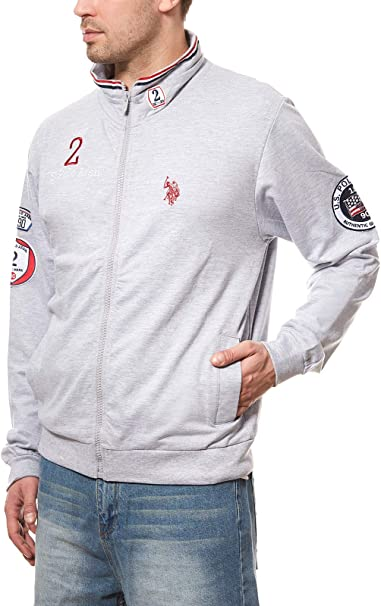 U.S. POLO ASSN. Sweat Jacket Full Zip Hombres Sudadera Gris suéter ...