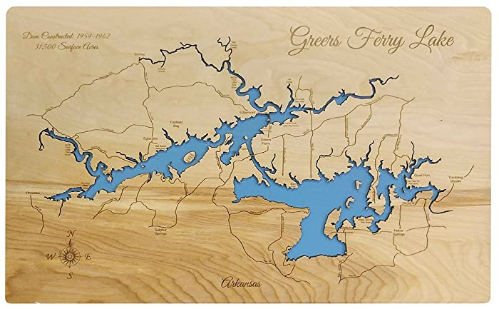 Arkansas World Map.Amazon Com Greers Ferry Lake Arkansas Standout Wood Map Wall