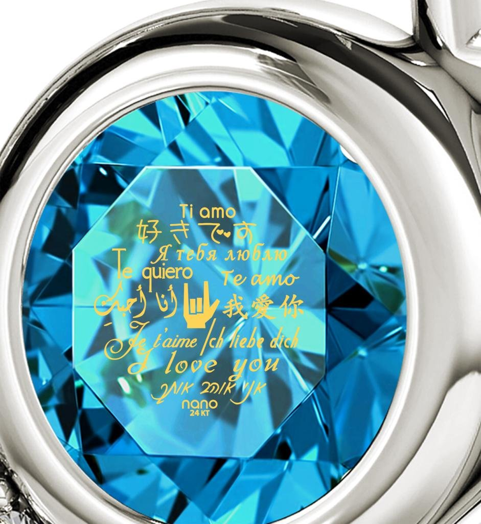 925 Sterling Silver Heart Pendant Necklace I Love You 12 Languages 24k Gold Inscribed Blue Crystal, 18'' by Nano Jewelry (Image #3)