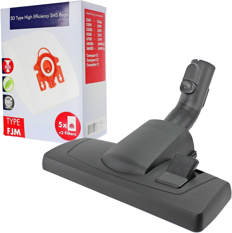Herramienta de cepillo de piso SPARES2GO + bolsas 3D FJM para aspiradora MIELE S4812 S4210 S4211 S4212: Amazon.es: Hogar