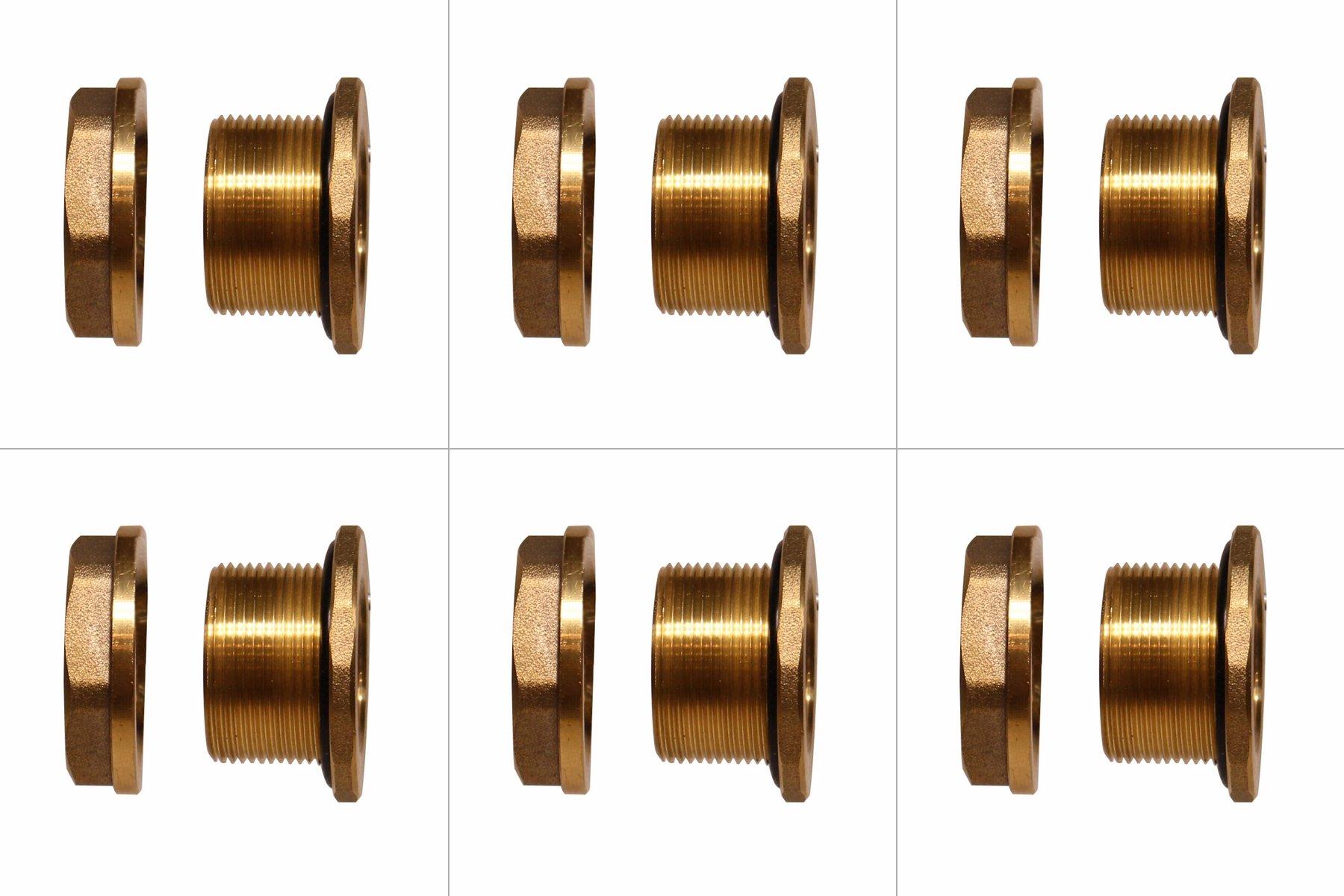 RAINPAL F075LFRH Brass BulkHead Tank Fitting 3/4'' Female Threaded(Lead Free Compliant, Right Handed Nut) (6)