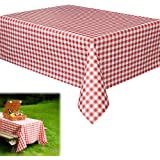 """Vinyl Tablecloth -6 Pack Rectangular Red and White Checkered Gingham Print Table Cloth Runner for Holiday and Party Events   Beach   Camping   Wedding   Birthday - L70"""" x W70"""""""
