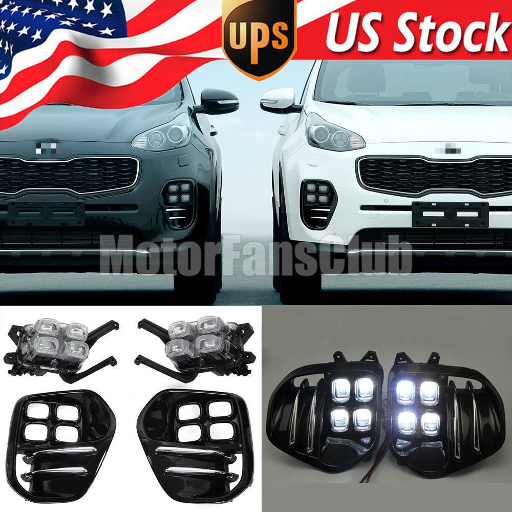 Amazon.com: MotorFansClub LED Daytime Running Light Fog Light for Kia  Sportage QL IV 2016 2017 with Front Lamp Bezel: Automotive