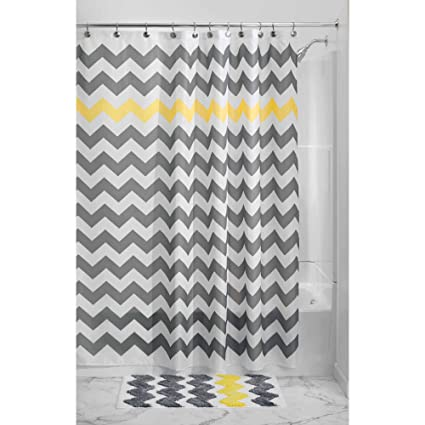 1 Piece Grey Yellow Chevron Pattern Shower Curtain 72quotx72quot Beautiful Horizontal Zigzag