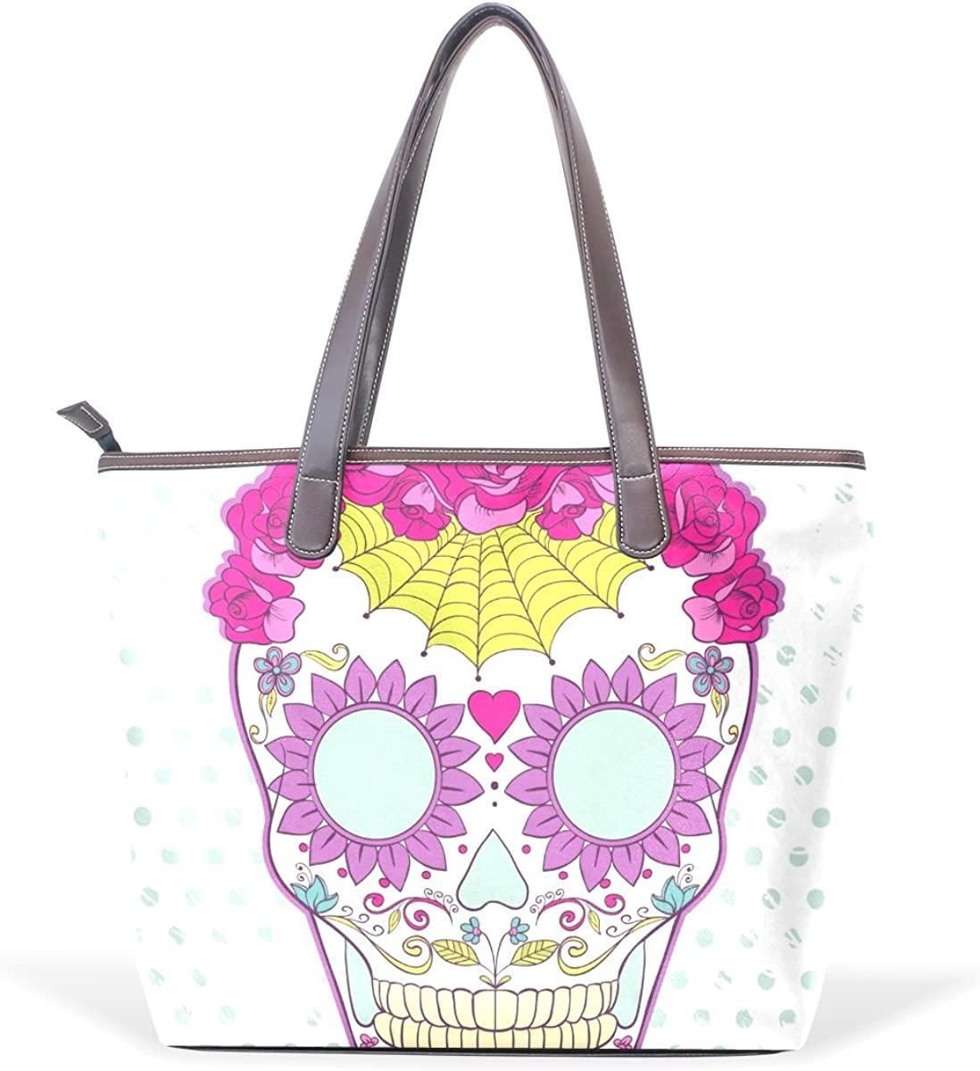 IMOBABY Womens Large Handbags Tote Bags Colorful Sugar Skull Patern Leather Top Handle Shoulder Bags,Ts070