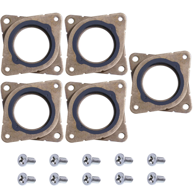 Gejoy 5 Pieces Stepper Motor Steel and Rubber Vibration Damper and 10 Pieces M3 Screws for CNC, NEMA 17 3D Printer (Color 2)