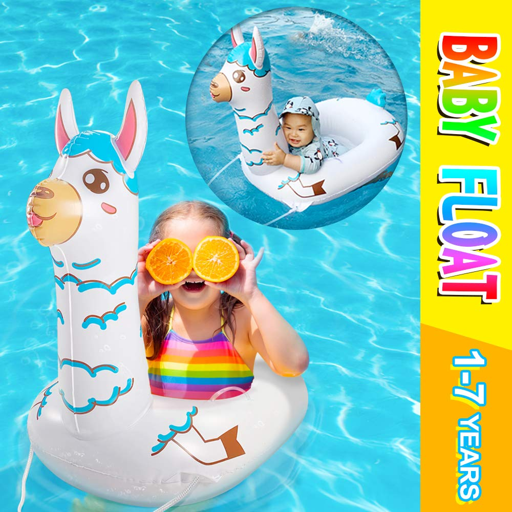 TRSCIND Baby Pool Float,Inflatable Swimming Floats,Alpaca Pool Floats for Kids Toddler Infant,Llama Gifts for Girl-boy (1-7year 15-90lb)