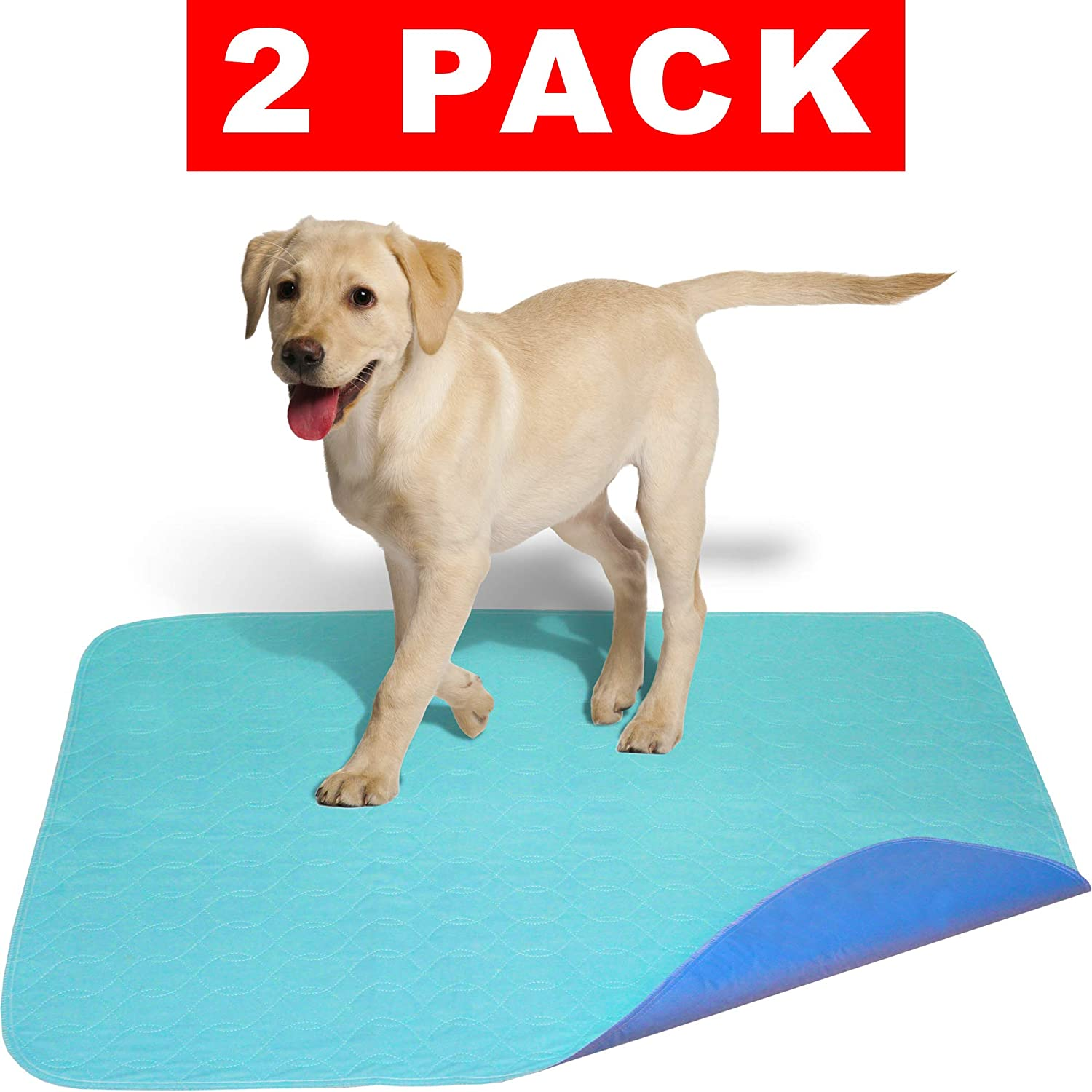 2 Pack Premium Waterproof Reusable   Quilted Washable Large Dog   Puppy Training Travel Pee Pads Size 34 x 36 by Careoutfit