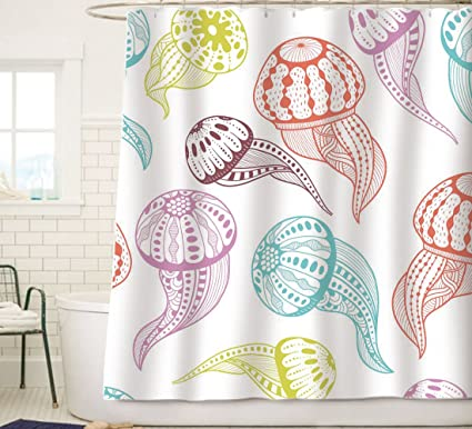 Amazoncom Sunlit Colorful Jellyfish Squid Tentacles Fabric Shower - Sea life bathroom decor
