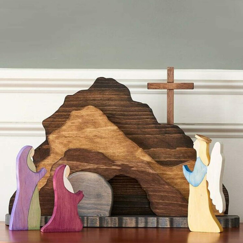 VELIHOME Easter Resurrection Scene Wooden Decoration,Easter Decor for Home,Wooden Cross Resurrection Scene Decor Wooden Nativity Set,Easter Crafts,Table Centerpiece for Tabletop (B)