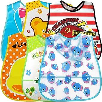 Baby haklapp, ZoneYan 6 stycken vattentäta haklappar, vattentäta haklappar med ficka, kan tvättas av ärmen, unisex baby-haklapp, tecknat tryck, dreglingshaklapp lämplig i 6–36 månader