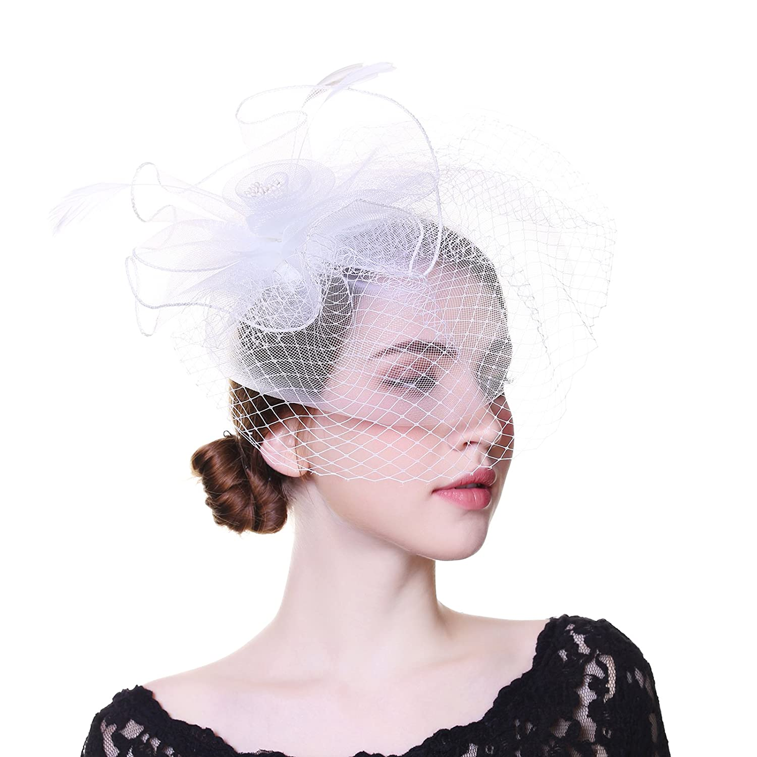 WELROG Sinamay Fascinators for Women Feather Wedding Party Church Hat