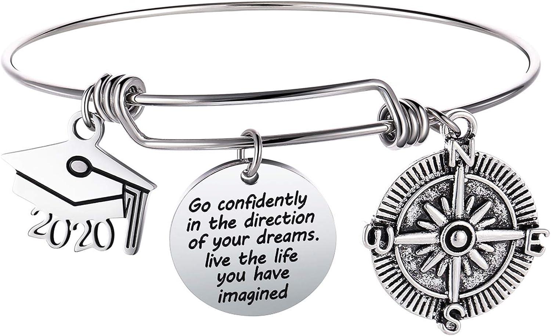 Bowisheet Graduation Cap Bangle Bracelet Compass Expandable Bracelet Graduation Gift Inspirational Jewelry for Women Girl