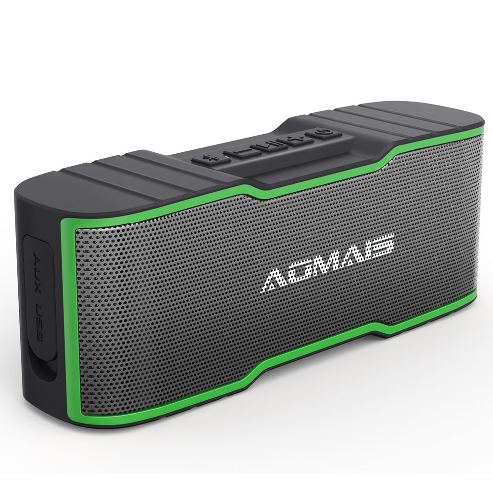 AOMAIS Sport II MINI Portable Bluetooth Speakers with 10W Superior Sound, Built-in Mic, Stereo Pairing, IPX4 Water-resistant Wireless Speaker for iPhone, iPod, iPad, Tablets, Echo Dot (Green)