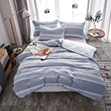 Merryfeel Cotton Duvet Cover, 100% Cotton Yarn Dyed Stripe Duvet Cover with 2 Pillowshams,3 Pieces Bedding Set - King