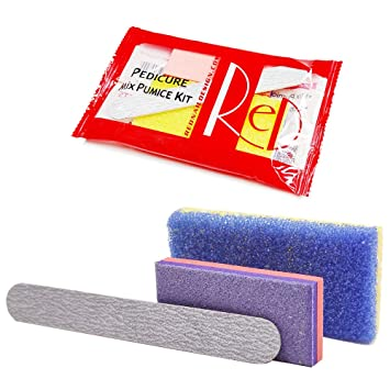 Amazon Com Red Disposable Pedicure Kit For Salon Used Including Nail File Pumice And Buffer 50 Sets Beauty