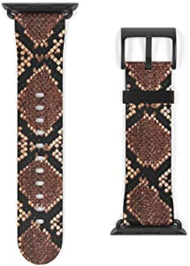 PU Eco Vegan Leather Watchband for Apple Colorful Wrist Band iWatch Strap Apple Watch 1 2 3 4 5 Series Art Design (Snake Skin Python, 42-44 mm)