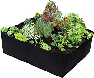 Plant Grow Bags 30 Gallons 4 Grids Square Heavy Fabric Raised Garden Bed Pot for Vegetable, Large Durable Breathe Cloth Planting Container for Potato, Carrot, Onion, Flower