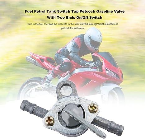 Commutatore del serbatoio di benzina del carburante Rubinetto Valvola a benzina di rubinetto con due estremit/à Interruttore di accensione//spegnimento per ciclomotore ATV di motocicletta fuoristrada
