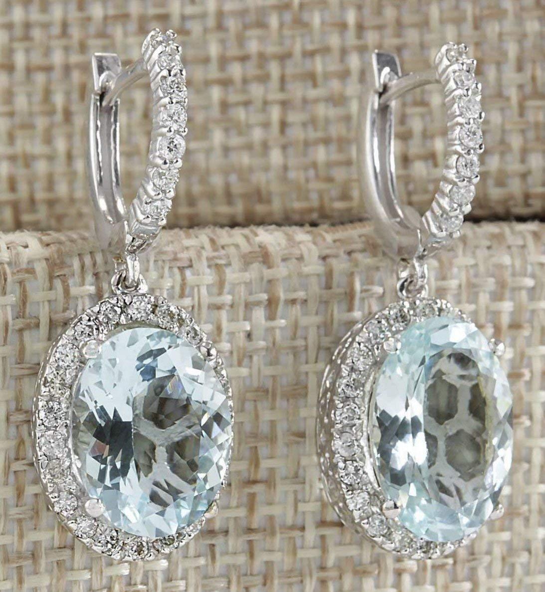 Fashion Women 925 Silver Aquamarine Gemstone Bridal Ear Stud Hoop Dangle Earrings(Style-Round) by SOSUO (Image #1)